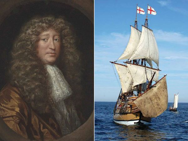 Samuel More, who packed off four Shropshire children on the Mayflower. Right; a modern replica of the Mayflower