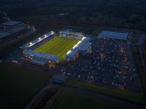 An Ariel view of the Montgomery Waters Meadow, home of Shrewsbury Town during the FA Cup Third Round match between Shrewsbury Town and Bradford City.