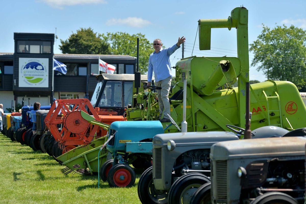 Rob Ball from Dorrington on his combine, one of many beautiful vehicles on display