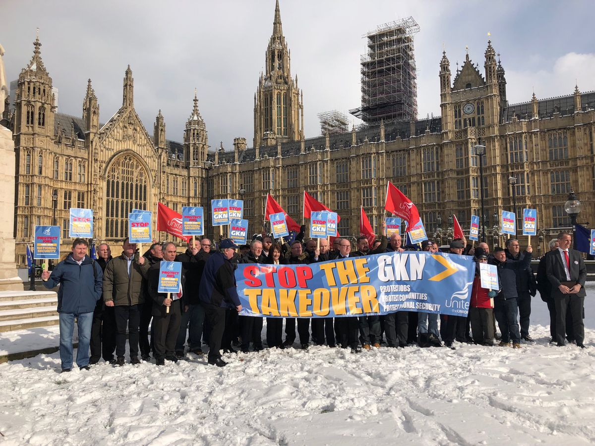 GKN representatives at Parliament after meeting MPs and urging them to stop the unwanted takeover by Melrose