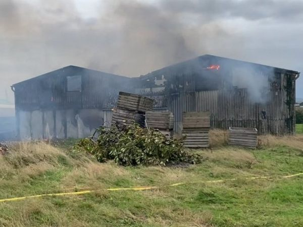 The fire at Longdon Upon Tern. Photo: Shropshire Fire and Rescue Service