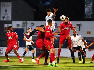 TELFORD COPYRIGHT MIKE SHERIDAN Telford's Jason Oswell heads at goal during the pre-season friendly between AFC Telford United and Wrexham at the New Bucks Head on Tuesday, September 15, 2020...Picture credit: Mike Sheridan/Ultrapress..MS202021-025.