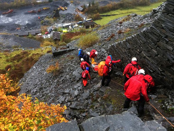 Search and rescue team on the steep incline