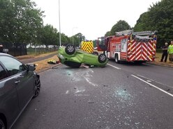 Car flips onto roof in two-vehicle Telford crash