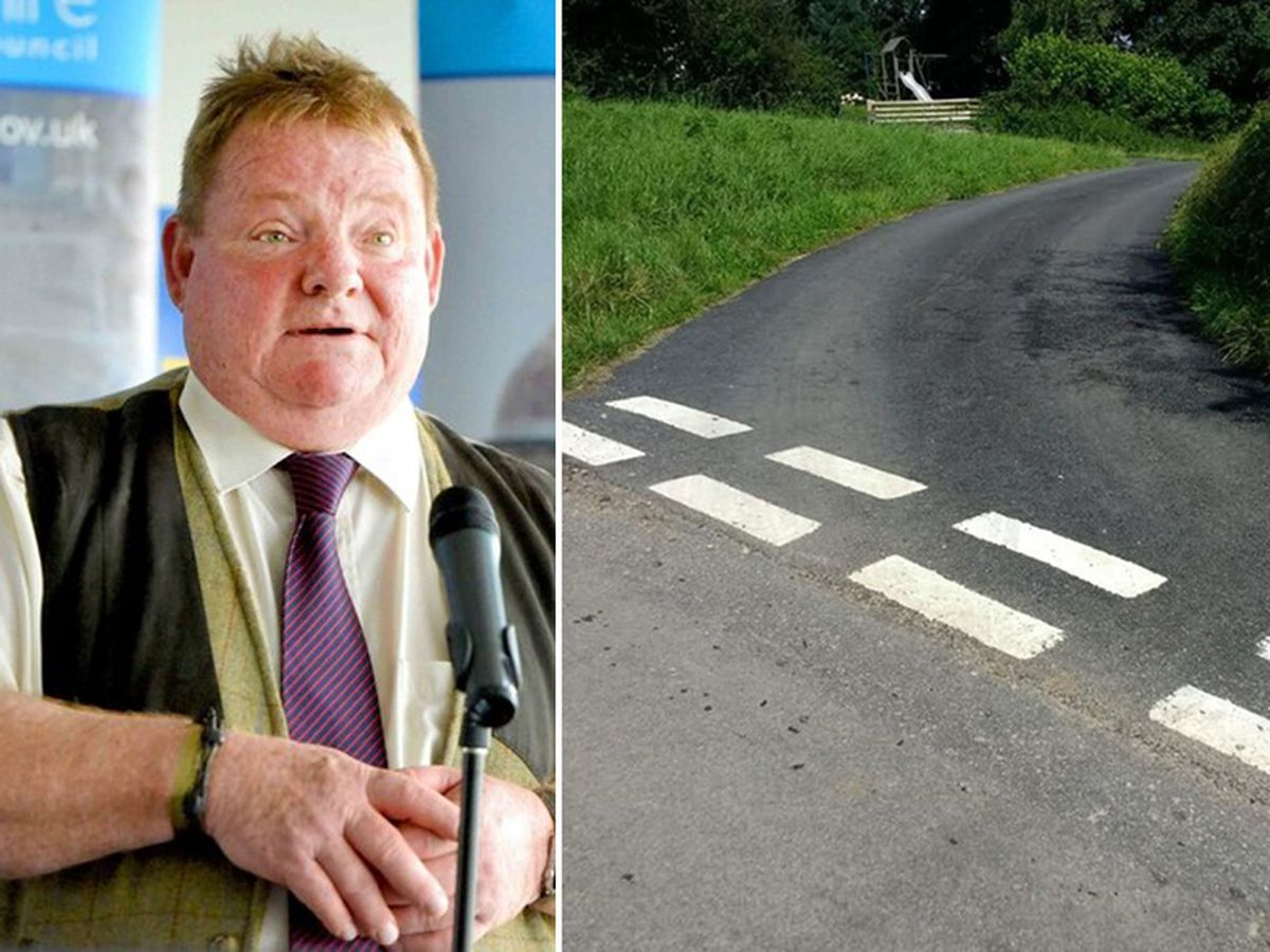 Where new road meets old road near Councillor Vince Hunt's home