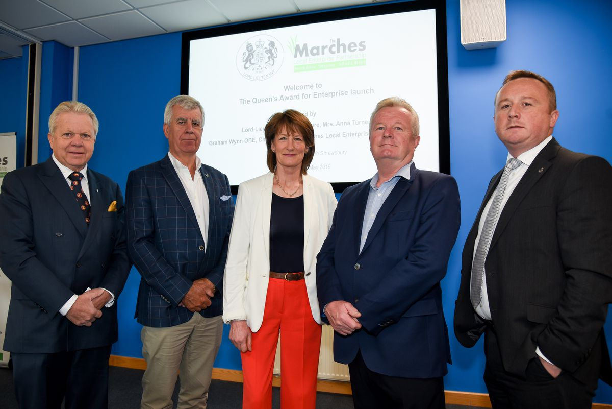 Chairman Graham Wynn, Orchard Valley Foods' Mike Forrester, Lord Lieutenant of Shropshire Anna Turner, LEP vice-chair Paul Hinkins, Protolab's Peter Richards