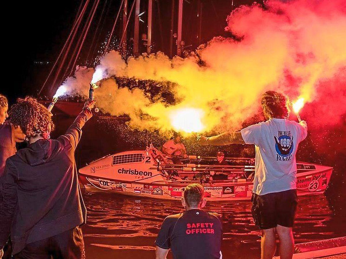Kelda crosses the finishing line. Photo: Atlantic Campaigns