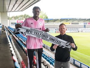 AFC Telford United new signing Jed Abbey with Gavin Cowan.