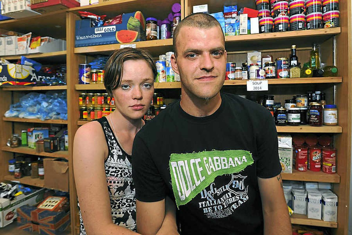 On the up – Former homeless couple Onyx Bradbury and Sky Johnson at Telford Food Bank in Madeley