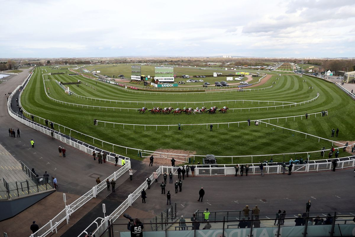 A general view of runners and riders during the Goffs UK Nickel Coin Mares' Standard Open National Hunt Flat Race during Liverpool NHS Day of the 2021 Randox Health Grand National Festival at Aintree Racecourse, Liverpool. Pic: David Davies/PA Wire for the Jockey Club