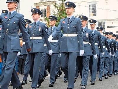 RAF personnel parading through three Shropshire towns to mark 100th birthday