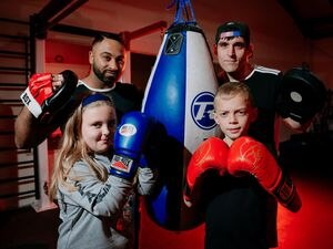 Sean Powell and Yaz Naseer with Lilly Evans, eight, Jackson Cannell, nine and Sean Powell