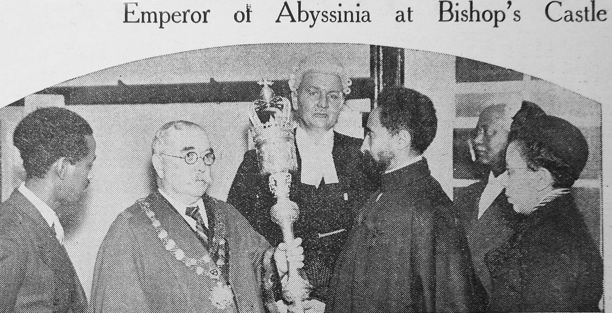 A civic reception was held at Bishop's Castle for the African Emperor.