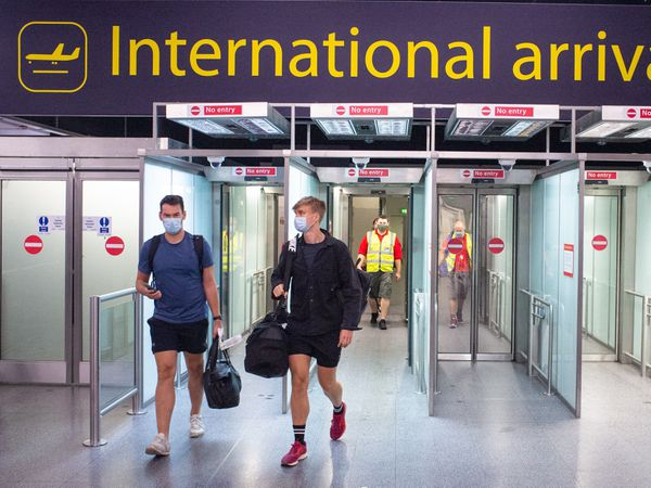 Passengers arrive at Gatwick Airport,