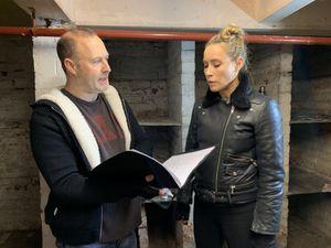 Iain Ross-McNamee with Nicole O'Neill on set