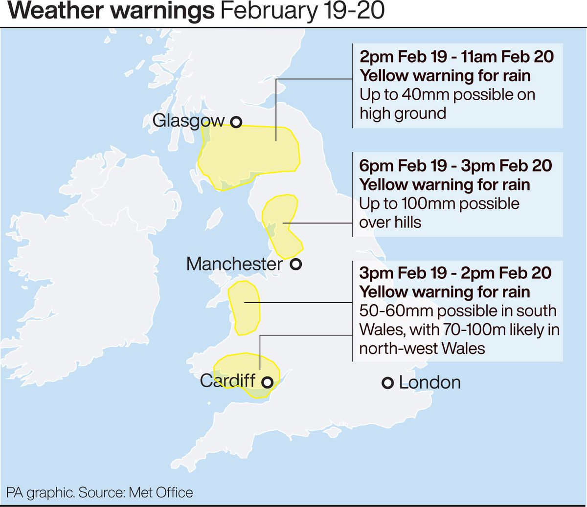 Weather warnings for February 19-20
