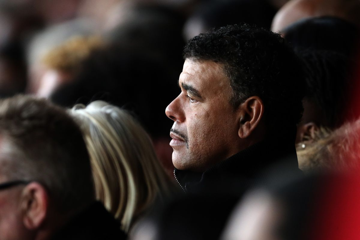 Chris Kamara at the Funeral Service of former West Bromwich Albion player Cyrille Regis at he Hawthorns