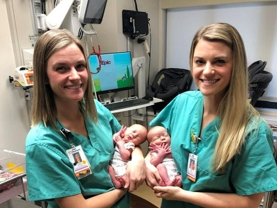 Identical twin nurses help deliver identical twin sisters at US hospital