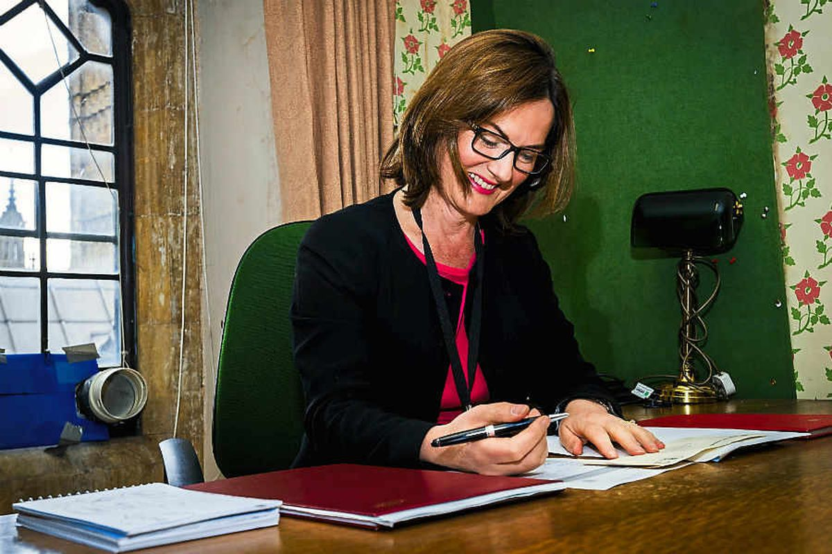 Lucy Allan in her new office in Portcullis House
