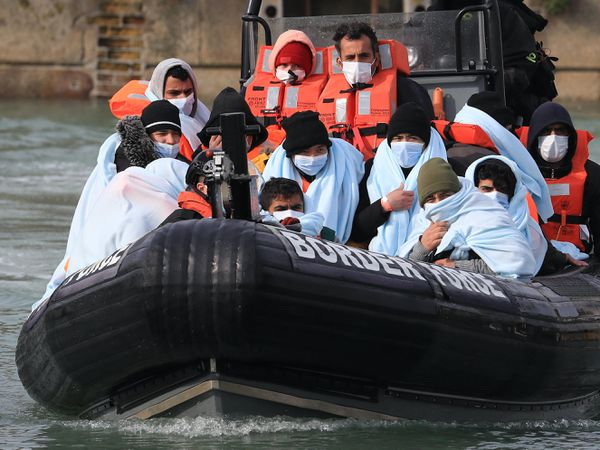 A group of people thought to be migrants are brought into Dover, Kent, by Border Force following a small boat incident in the Channel