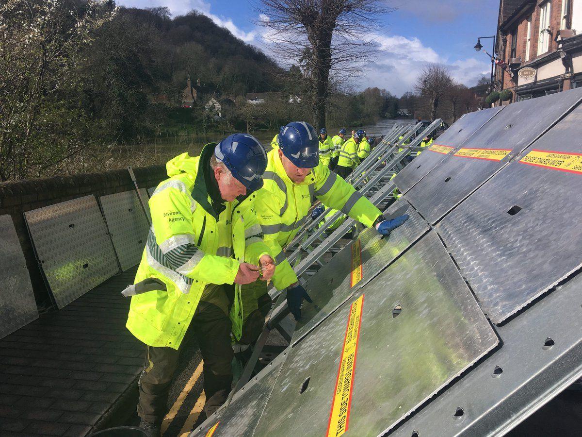 Flood barriers were put up in Ironbridge on Sunday