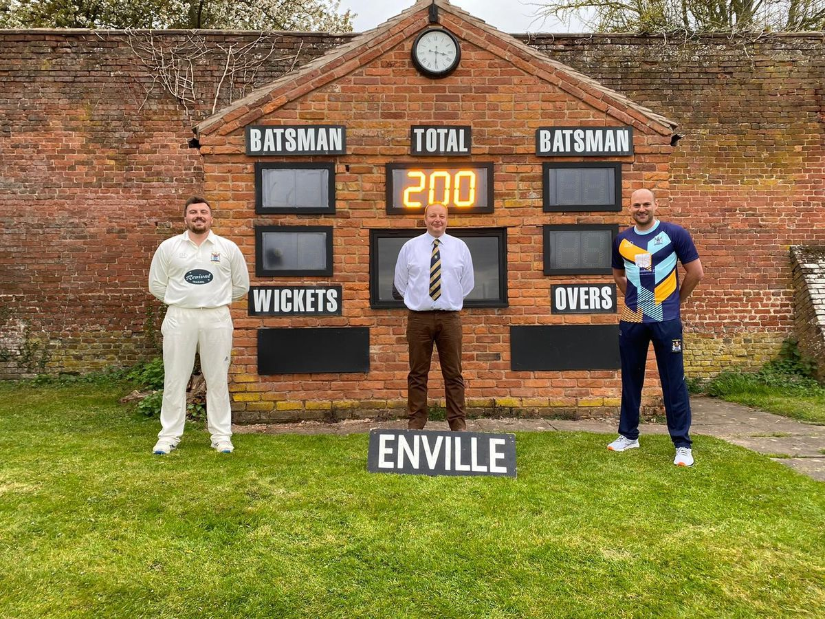 Club captain Spencer Mann, chairman Trevor Spears and club vice captain Matt Branch showing off the new digital scorebox at the club