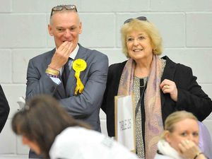 Pauline Dee watching the count with Chris Mellings at the Shropshire Council elections in 2017.