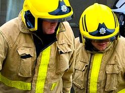 Rubbish on fire at Shrewsbury chip shop