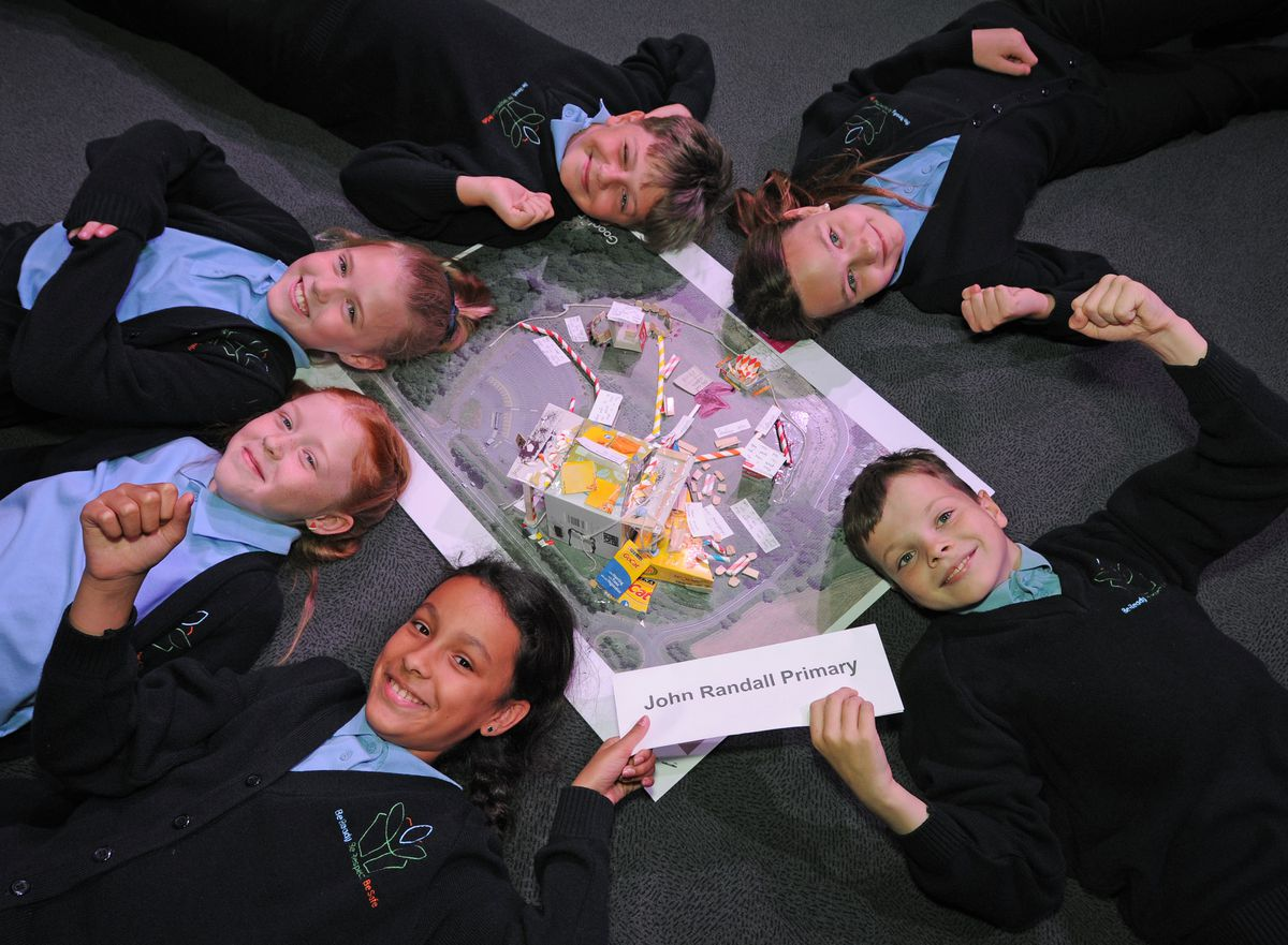 Pupils from John Randall Primary School celebrate after being named the overall winner of the Stem Challenge event