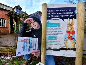 Jack Simpson, 13, from Shrewsbury, checks out the Beatrix Potter trail