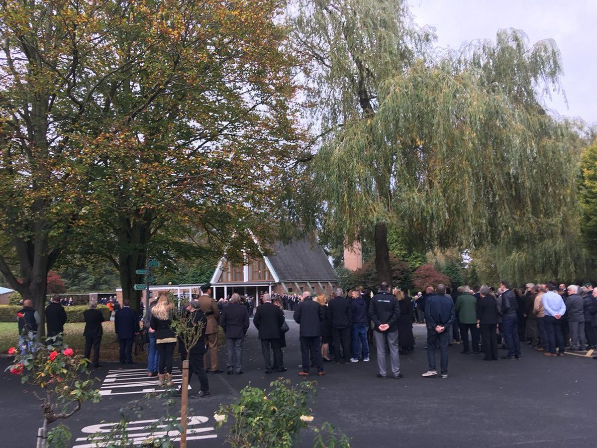 Mourners at the funeral in Shrewsbury