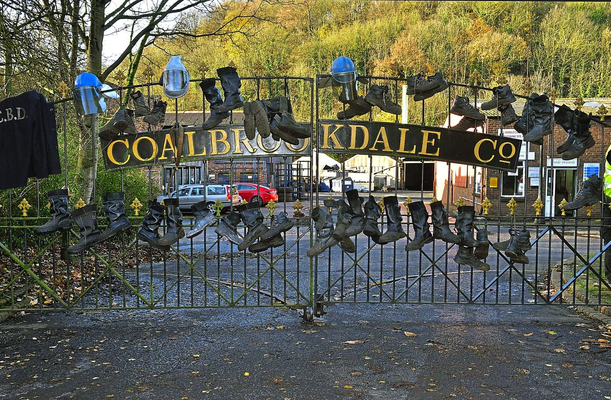 Workers hung their boots on the gates of the foundry when it closed in 2017