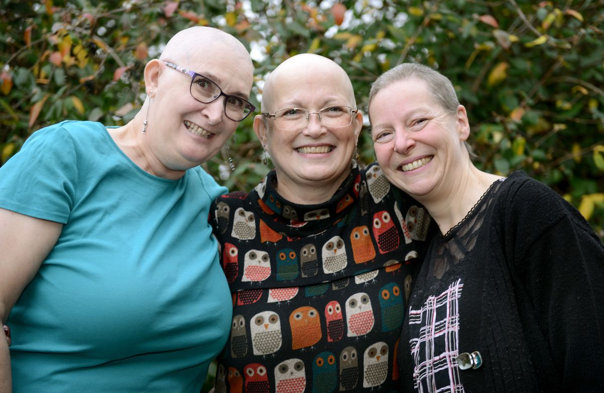 Frances Gardiner (left) and Sally Baguley (right) with close friend and colleague Caroline Readman (centre)
