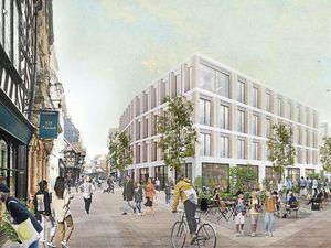 An artist's impression of a pedestrianised Shrewsbury High Street