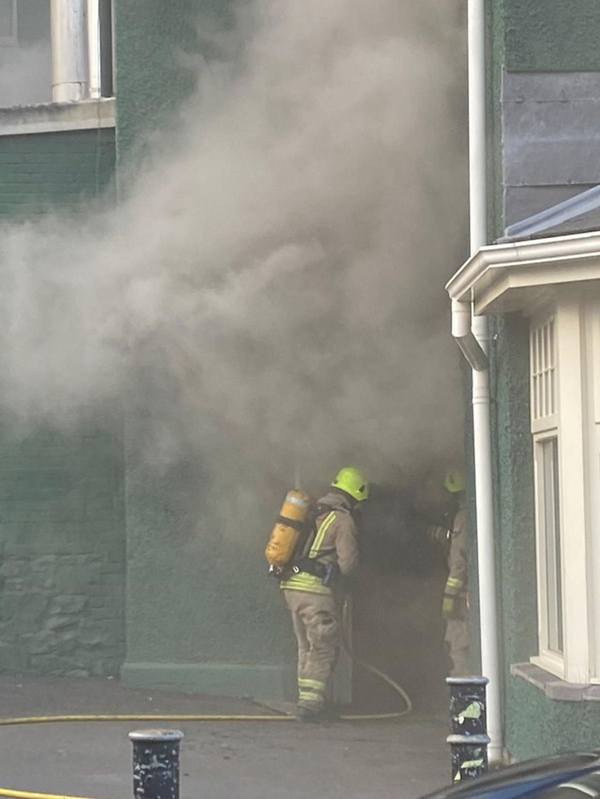Crews fighting the fire at the Metropole Hotel