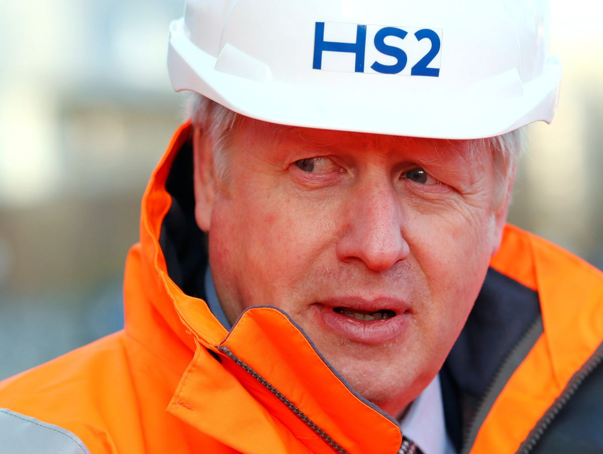 Prime Minister Boris Johnson during a visit to Curzon Street railway station in Birmingham where the HS2 rail project is under construction. PA Photo. Picture date: Tuesday February 11, 2020. The Prime Minister has given HS2 the go ahead, telling the House of Commons that his Government had the 'guts to take the decision' to deliver prosperity across the country. See PA story RAIL HS2. Photo credit should read: Eddie Keogh/PA Wire