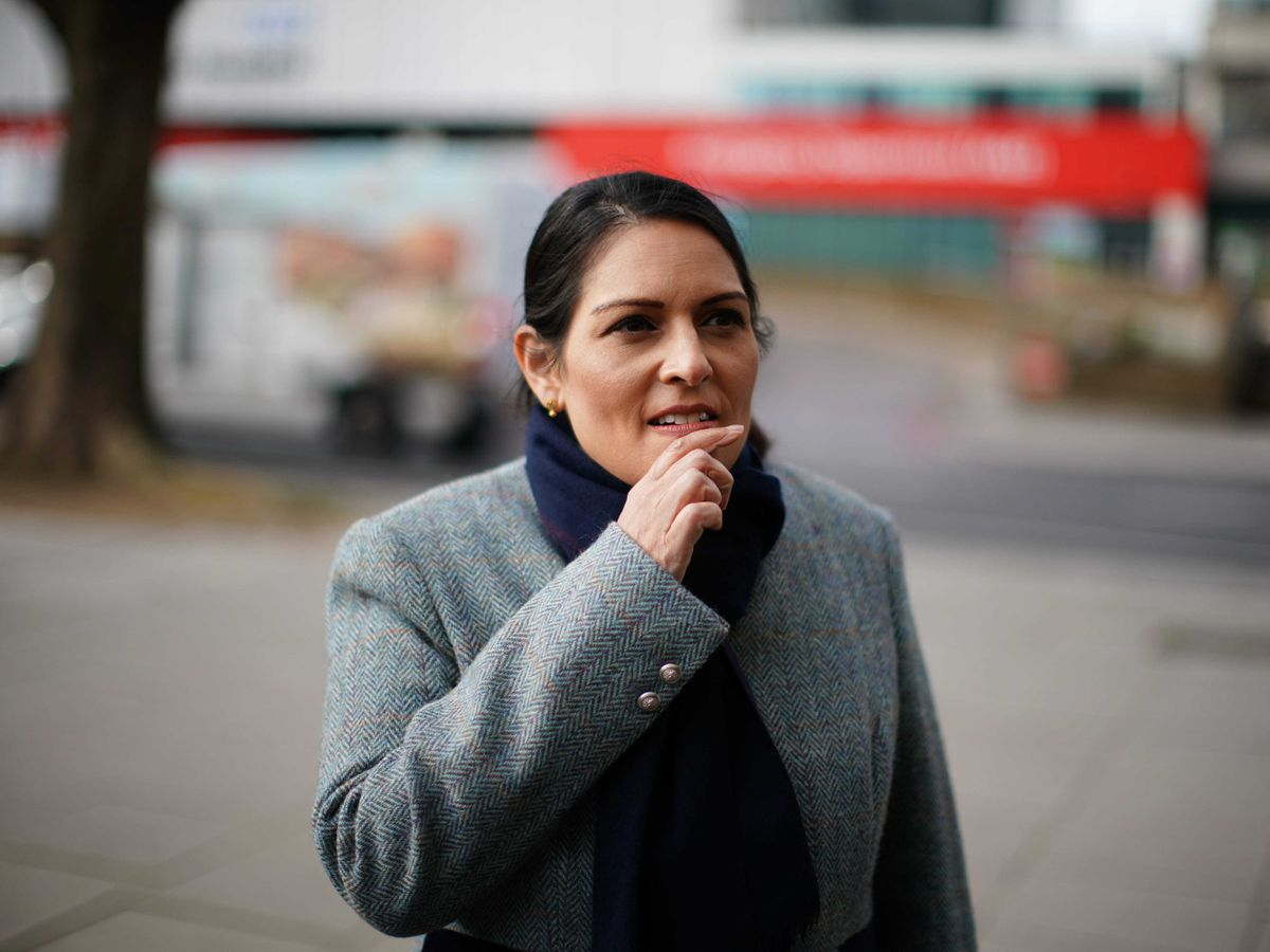 Home Secretary Priti Patel while on patrol with Metropolitan Police officers to hear about about Covid enforcement
