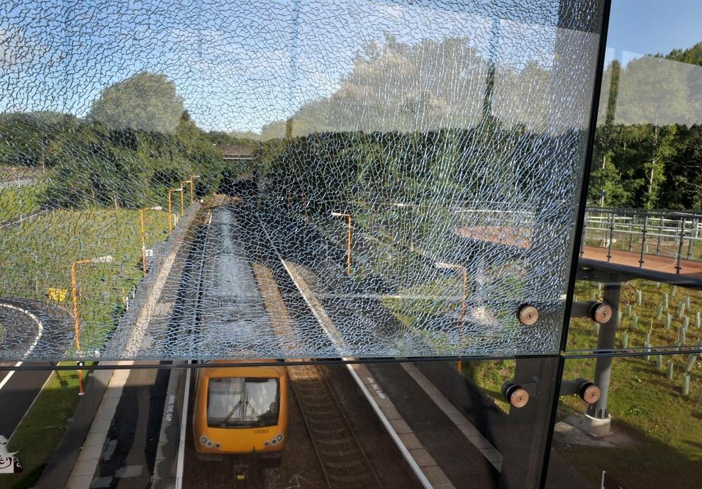 Air rifle vandals shatter glass panels on Telford's landmark