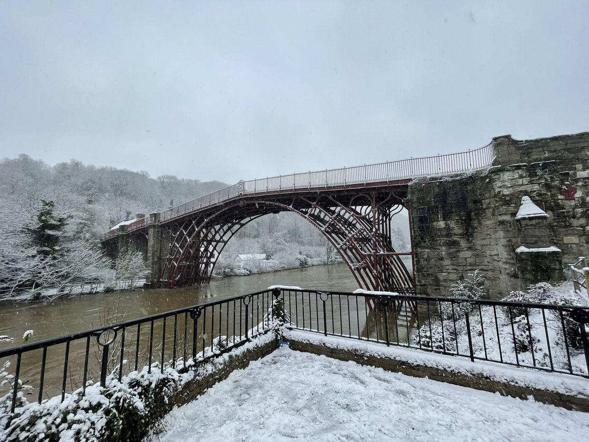 Snow meets flooding in Ironbridge. Photo: George Wall