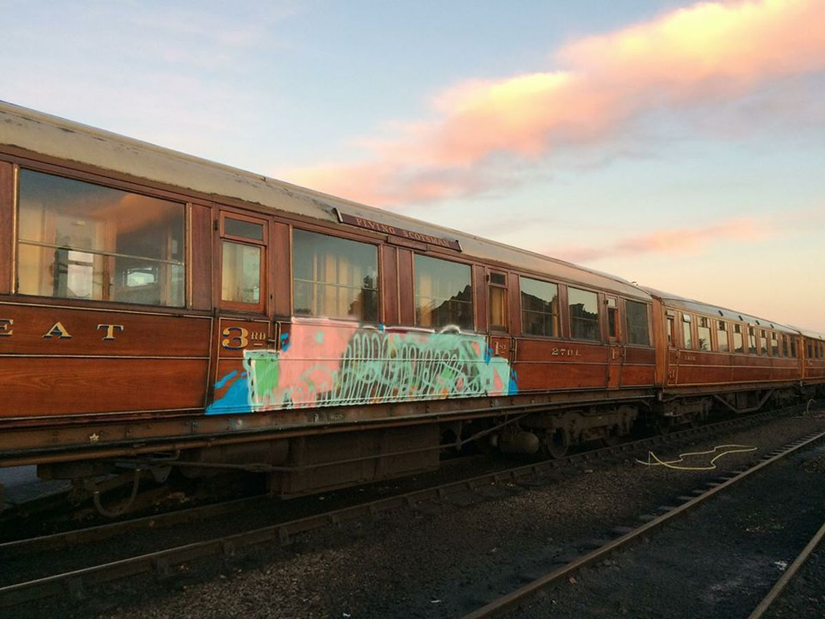 The carriages were sprayed with paint