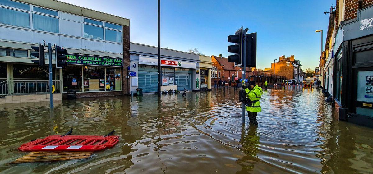 Flooding in Coleham, Shrewsbury, on Friday. Photo: Owain Betts