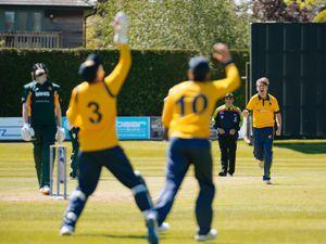 BORDER COPYRIGHT SHROPSHIRE STAR JAMIE RICKETTS 30/05/2021 - Shropshire Cricket Club (fielding) vs Northumberland Cricket Club (Batting) at Oswestry Cricket Club. In Picture: Sam Ellis bowling for Shropshire.