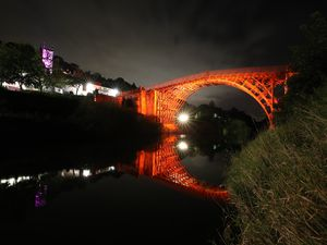 The Iron Bridge in Telford was lit up over the weekend to mark the Festival of Imagination