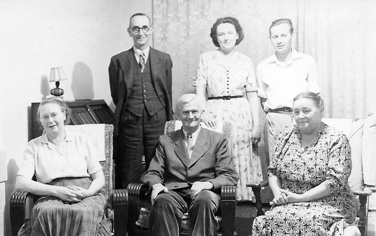 Heini and Joan with both sets of parents at Heini's house in Muxton in the 1950s.
