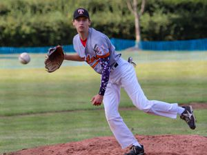 Charlie Mayhew pitching for Telford Giants. Pic: Amy Turner