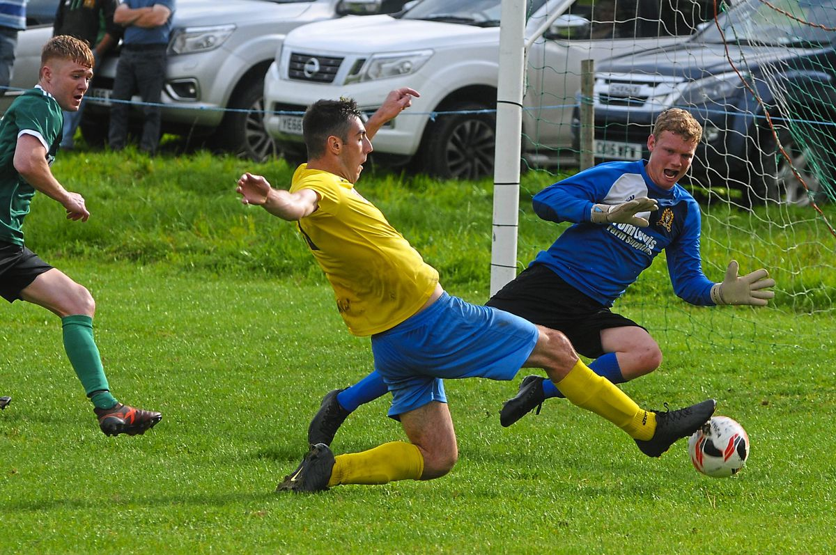 Brecon Corries forward Joel Evans, in action against Radnor Valley, was top marksman with 40 goals