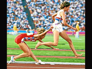 Zola Budd tangles with Mary Decker