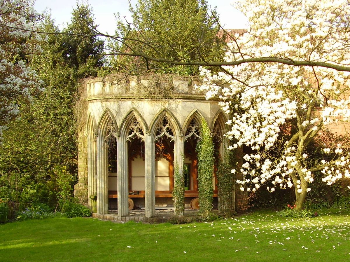 Keith salvaged the dining room bay window from Tettenhall Wood House and made it a folly in his garden.