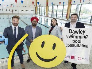 Councillors Shaun Davies and Eileen Callear joined poolside by Councillors Ian Preece and Kuldip Sahota