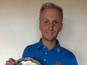 Tom Matthews has been given with his Shropshire & Herefordshire Golf Union salver for being the 2018 boys' captain. The presentation has been made early as Oswestry golfer Matthews is off to college in Florida a few weeks.